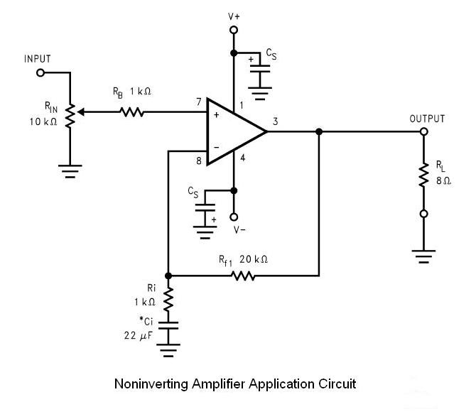 below: Schematic of the non-inverting amplifier implemented on the PCB.